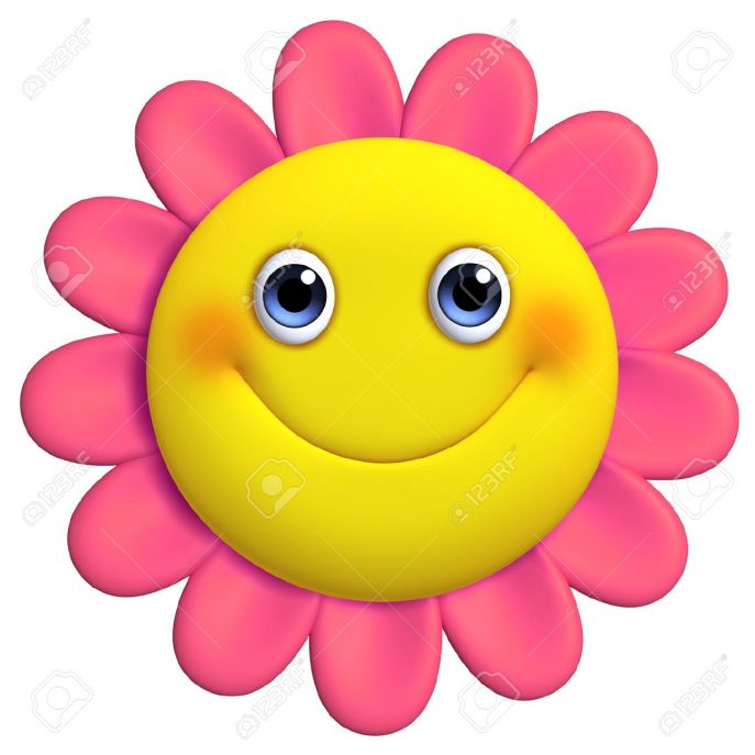 687x687 Red Flower Clipart Smiley Face