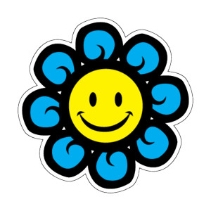 300x300 Smiley Face Flower Car Magnet