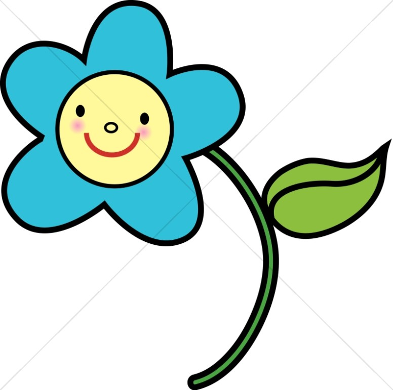 776x771 Blue Flower With Yellow Smiley Face Religious Baby Clipart
