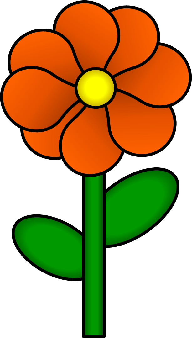 613x1078 Orange Flower Clipart Flower Stem