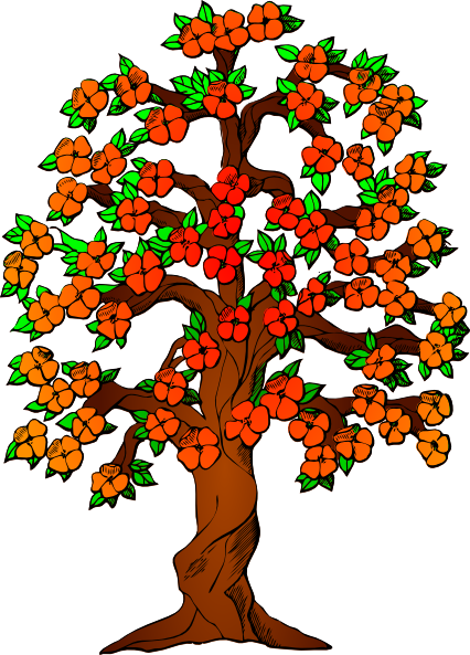 426x593 Flowered Tree Clip Art