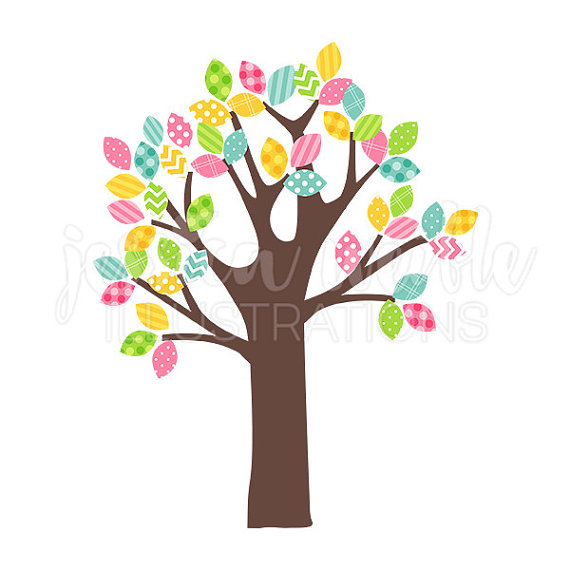 570x570 Spring Pattern Leaf Tree Cute Digital Clipart Easter Tree