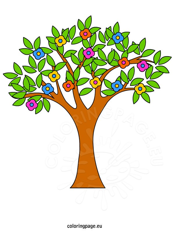 595x804 Spring Tree Clip Art Coloring Page
