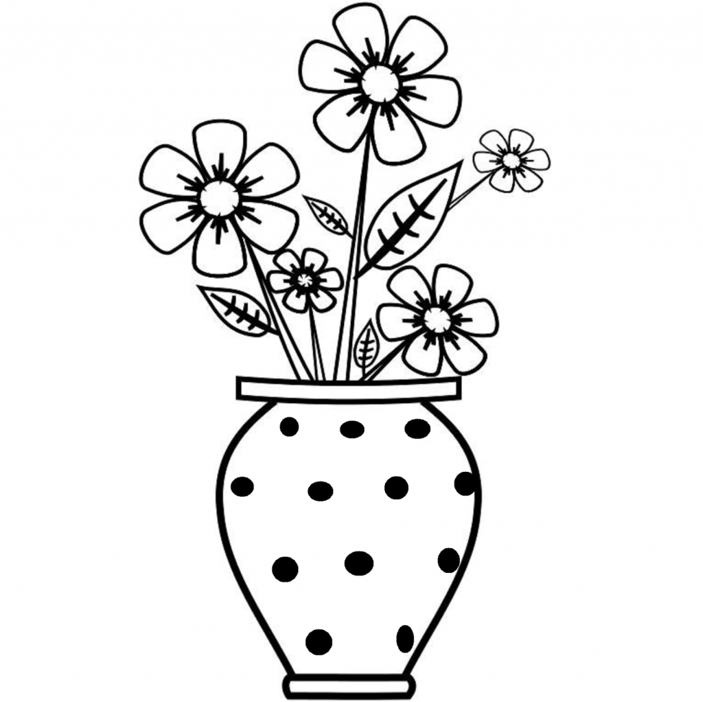 1024x1022 Flower Vase Drawing With Colour Clip Art Of Flower Vase