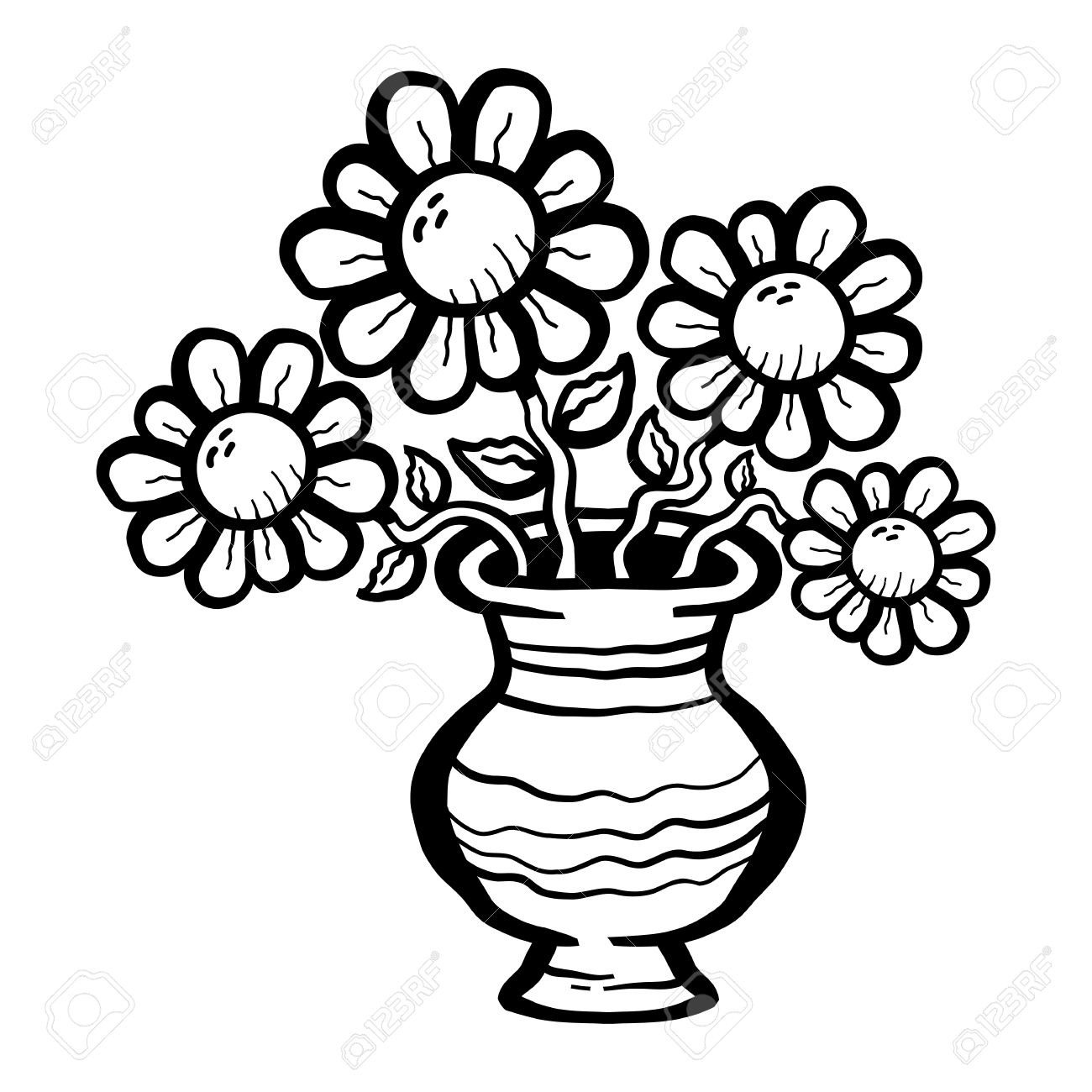 Flower vase clipart black and white free download best flower 1300x1300 stunning black and white flower vase gallery reviewsmspy