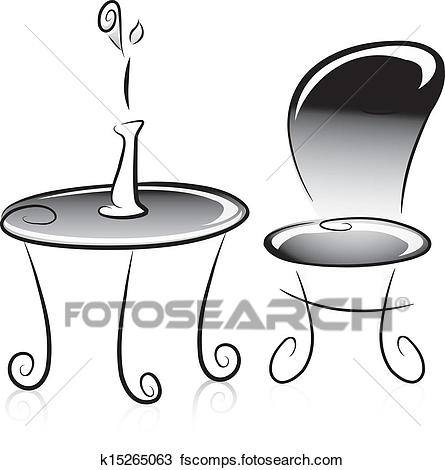 445x470 Clipart Of Flower Vase, Table And Chair In Black And White