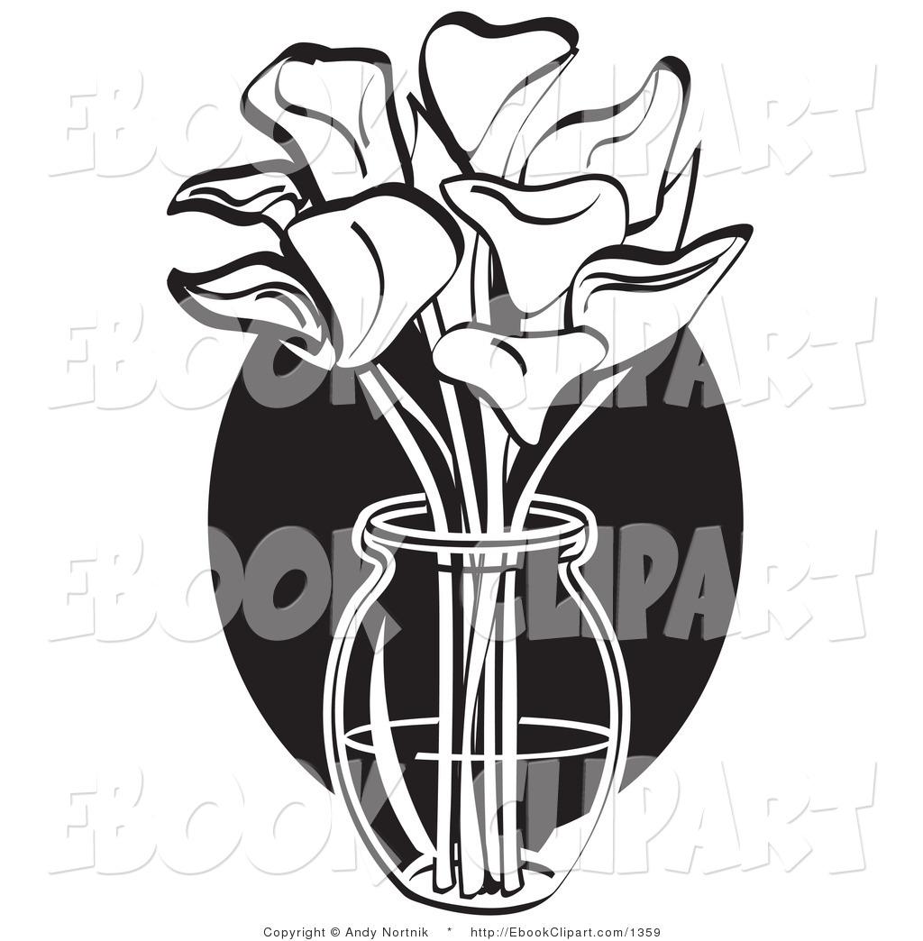 1024x1044 Vector Clip Art Of A Black And White Bouquet Of Cream Calla Lilies