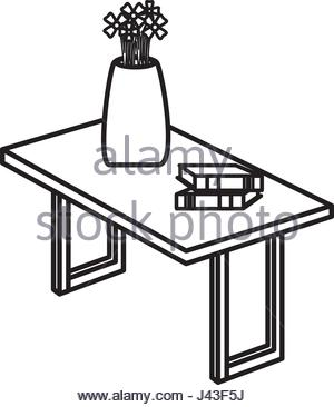 300x366 Table Wooden With Flower Vase Isometric Icon Stock Vector Art