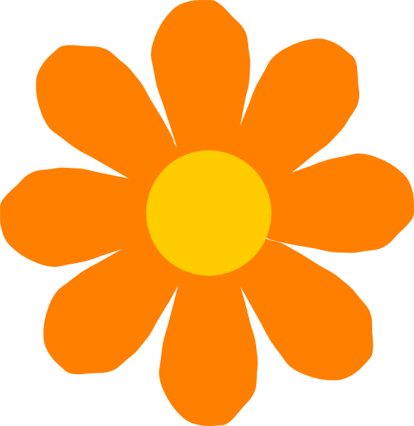 582x599 Orange Flower Clip Art