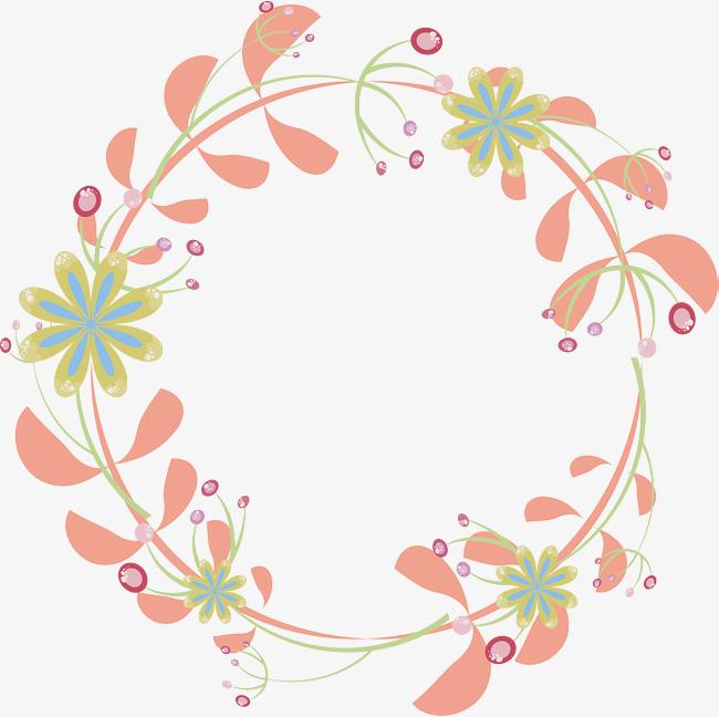 650x648 Pink Flower Rattan Round Border, Vector Png, Frame, Round Border