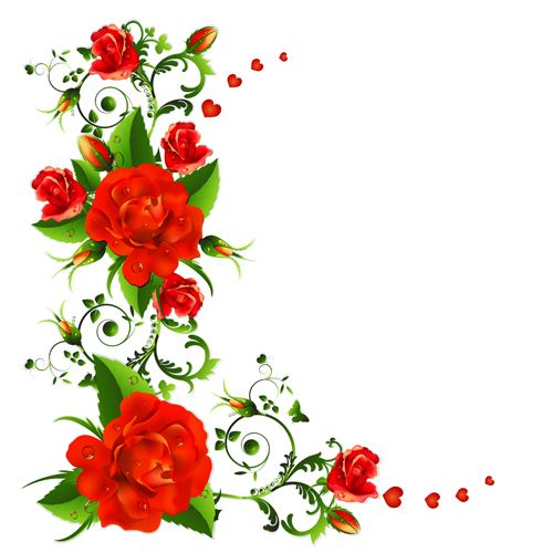 500x500 Red Flower Clipart Floral Vector