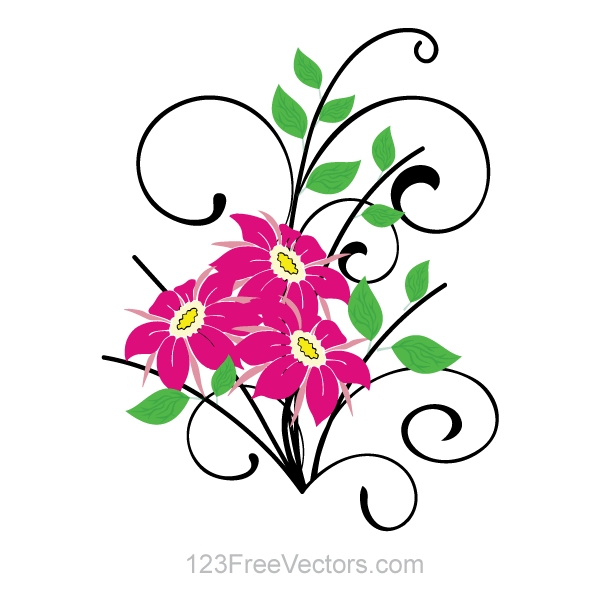 600x600 Flowers Clip Art Free Vector 123freevectors On Flower Vector