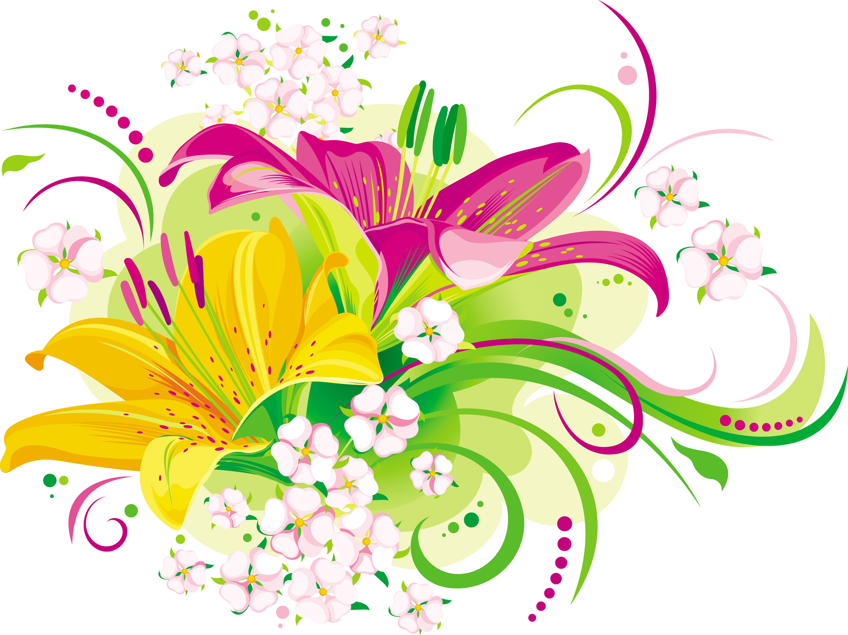 2900x2171 Vector Butterfly Lilies X And Little Flowers Wallpaper High Hight