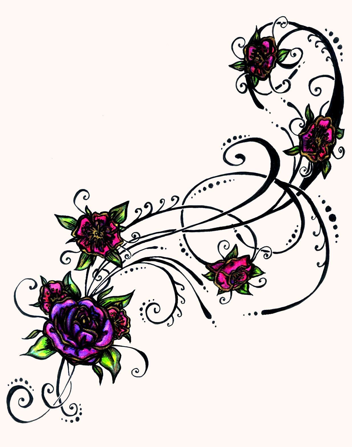1235x1568 Beautiful Flowers Vine Tattoos For Girls Photo
