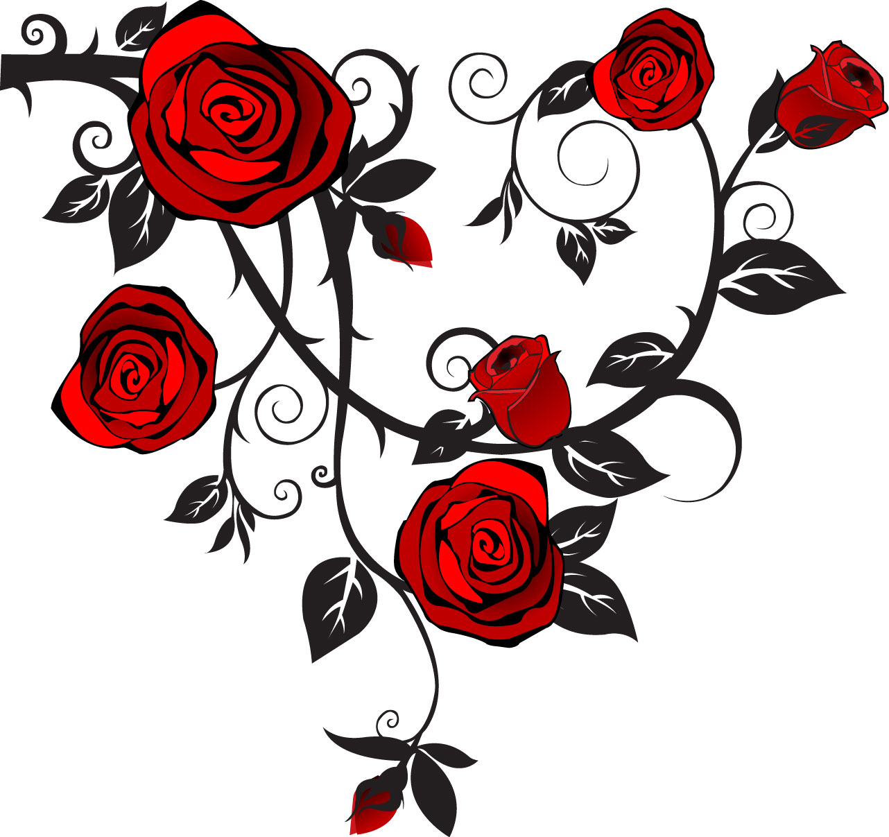 1282x1207 Tattoovorlagen Rosenranke Tattoo Designs Rose