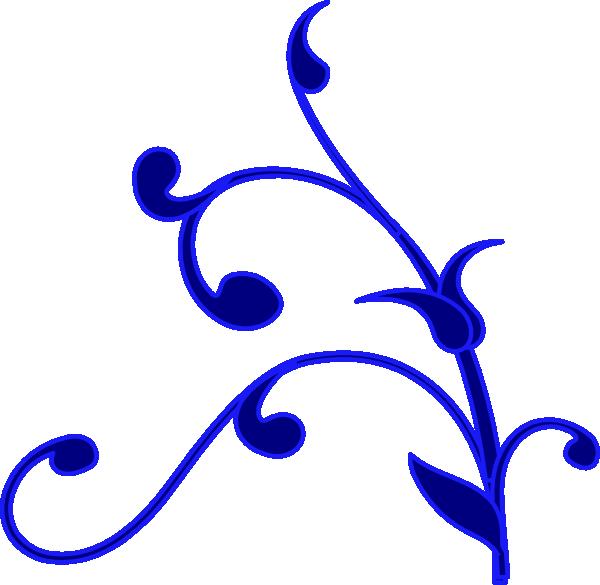 600x585 Blue Outline Flower Vine Clip Art