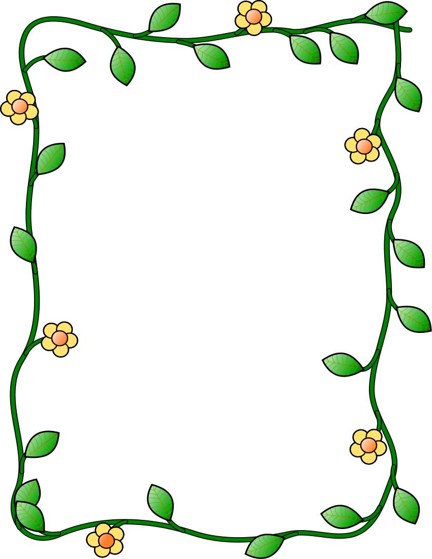 850x1100 Flower And Vine Frame Vertical Clipart Panda