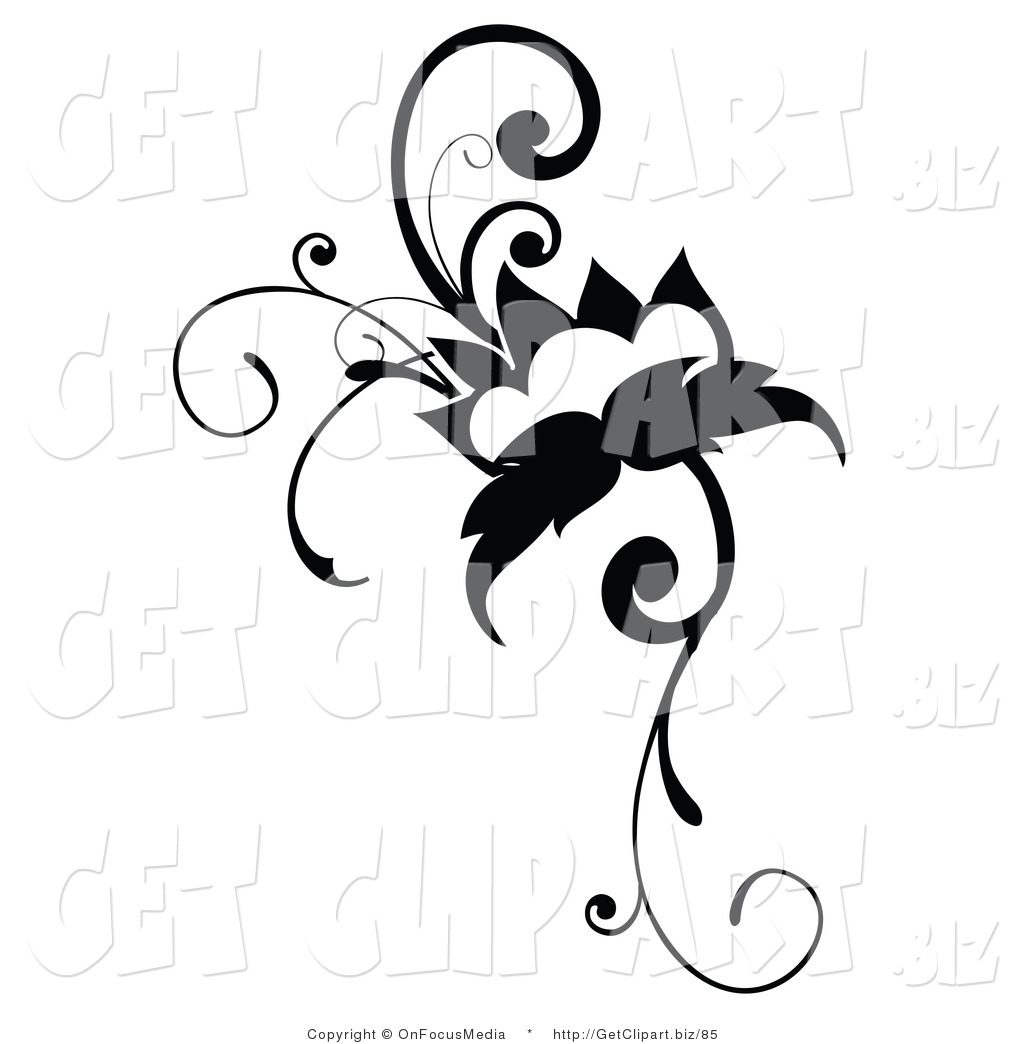 1024x1044 Clip Art Of A Black Flowering Vine Design Scrolling On White By