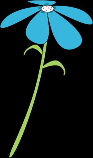300x508 Blue Flower Red Dots Clip Art