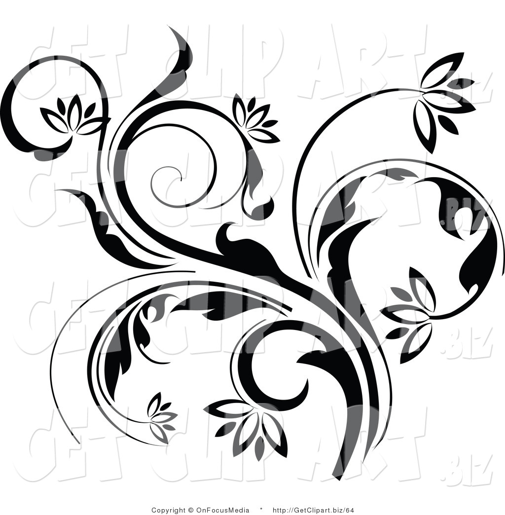 1024x1044 Clip Art Of A Black Curling Flowering Vine Accent Flowing Up By