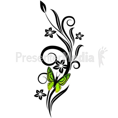400x400 Vines Swirl Green Flowers