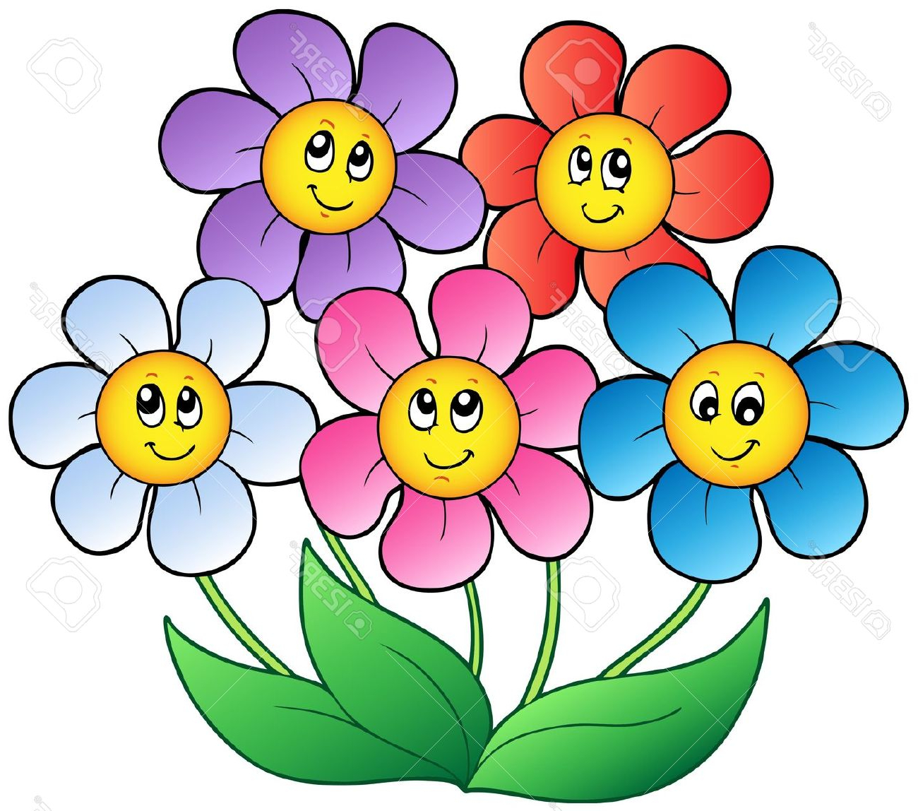 1300x1148 Clip Art Free Flowers With Faces