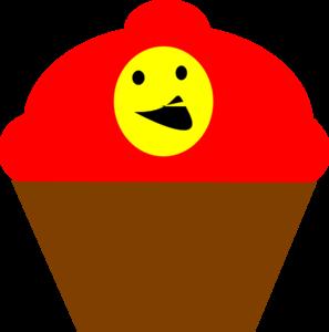 297x300 Cupcake Redbrown Smiling Face Clip Art