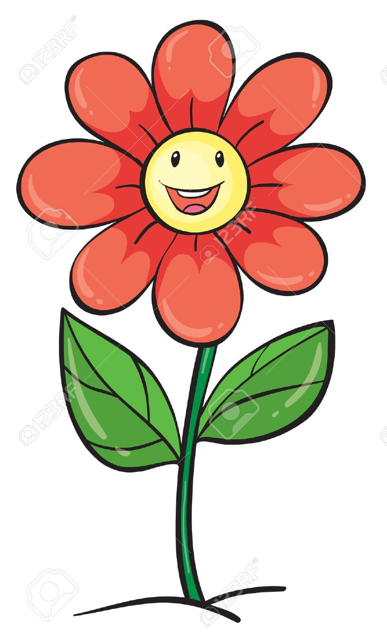 786x1300 Illustration Of A Flower On White Background Royalty Free Cliparts