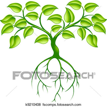 450x452 Clip Art Of Green Tree And Roots K9210408