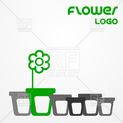 400x400 Abstract Flower Pot Logo With Sample Text Royalty Free Vector Clip