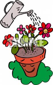 186x300 Art Image A Watering Can Watering A Flower Pot