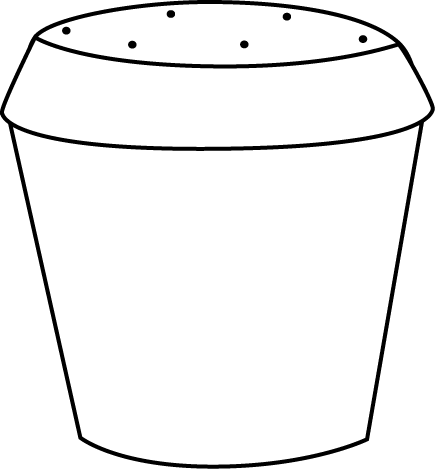 435x469 Black And White Dirt Filled Flower Pot Clip Art