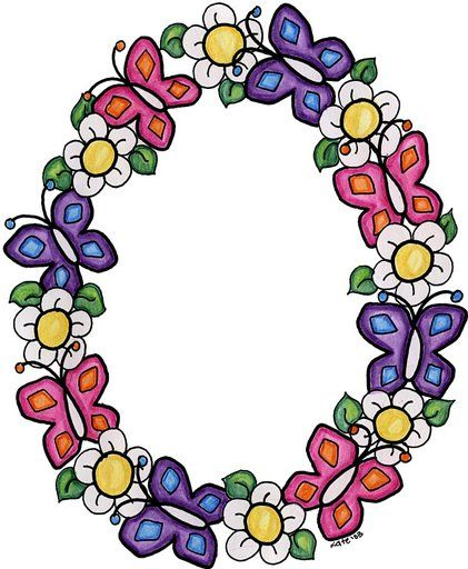 Flowers And Butterflies Border Clipart