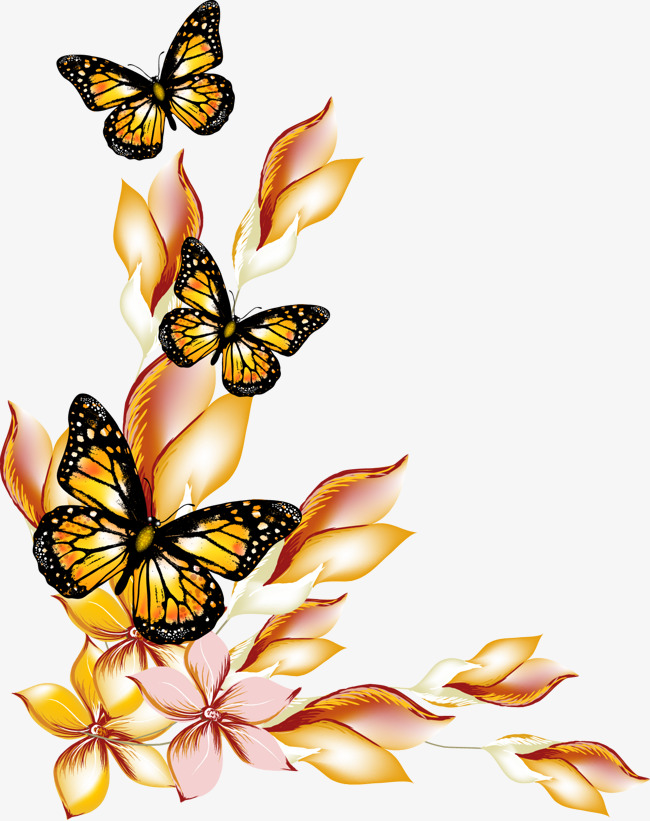 650x821 Flowers And Butterflies Borders Vector, Flowers And Butterflies