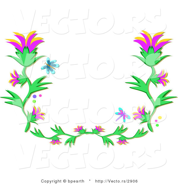 600x620 Vector Of Blue Butterfly And Dragonfly Flying Over Flowering Vines