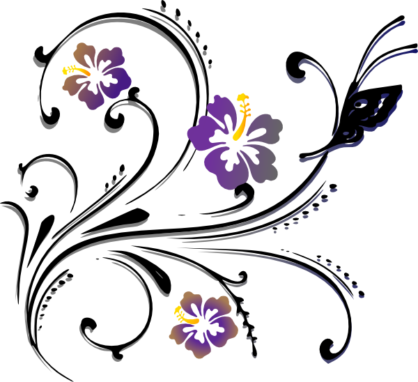 600x548 Violet Clipart Flower Scroll