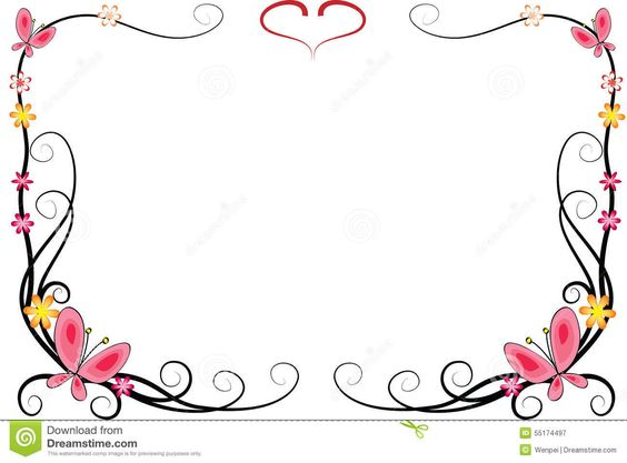 564x417 Frame Fleurs Vector Drawing Flowers And Butterfly With Frame