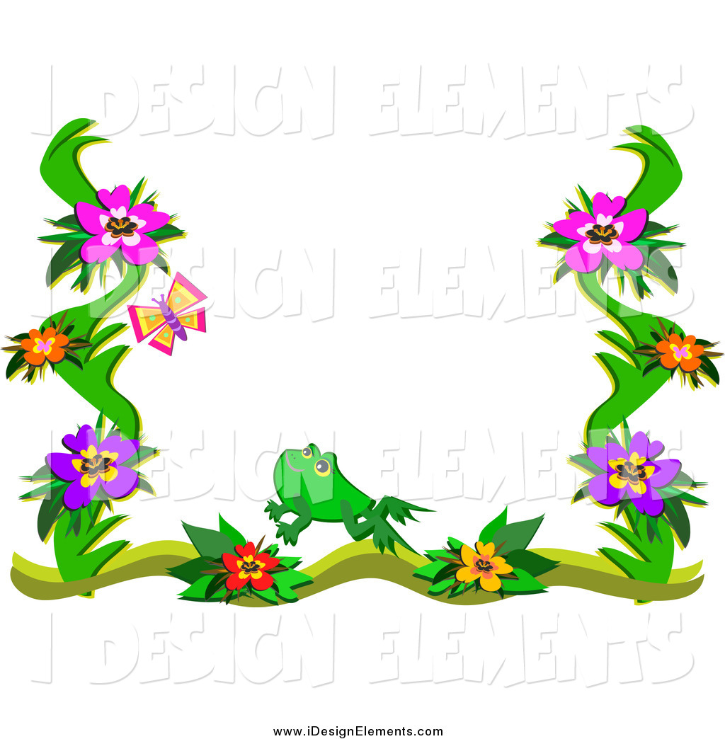 1024x1044 Clip Art Of A Floral Frog And Butterfly Border By Bpearth