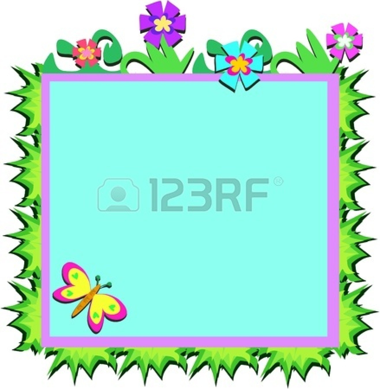 1317x1350 Clipart Flowers And Butterflies Border