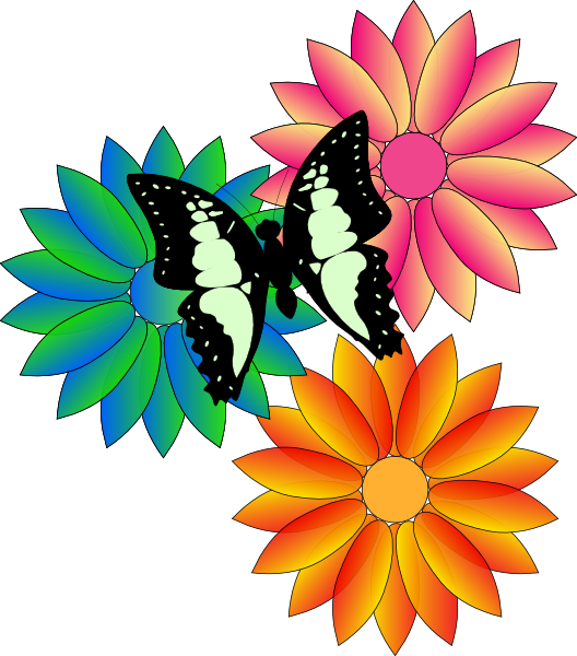528x600 Butterfly And Flowers Clip Art
