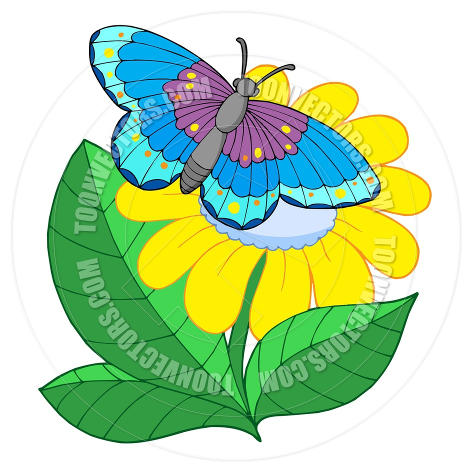 940x940 Cartoon Butterfly On Yellow Flower By Clairev Toon Vectors Eps