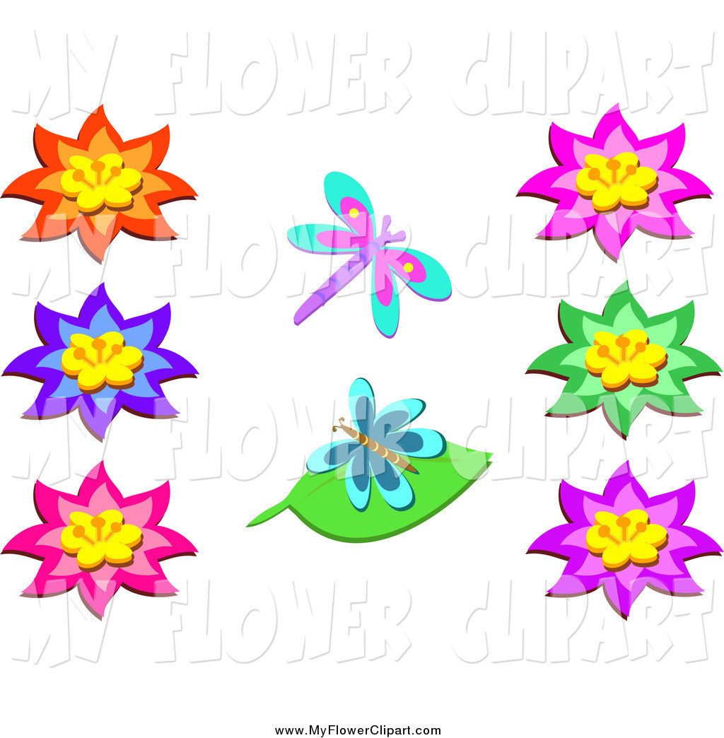 1024x1044 Clip Art Of Bright Flowers And Two Butterflies By Bpearth