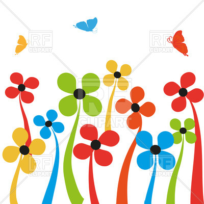 400x400 Colorful Simplistic Cartoon Flowers And Butterflies Royalty Free