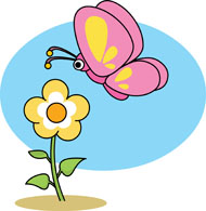 190x195 Flower And Butterfly Clipart