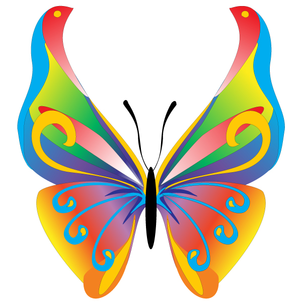 600x600 Free Butterfly Clip Art Floral Butterfly Free Vector Graphic