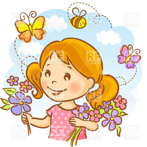 470x470 Happy Girl Holding Flowers On Sky Background With Flying Bees