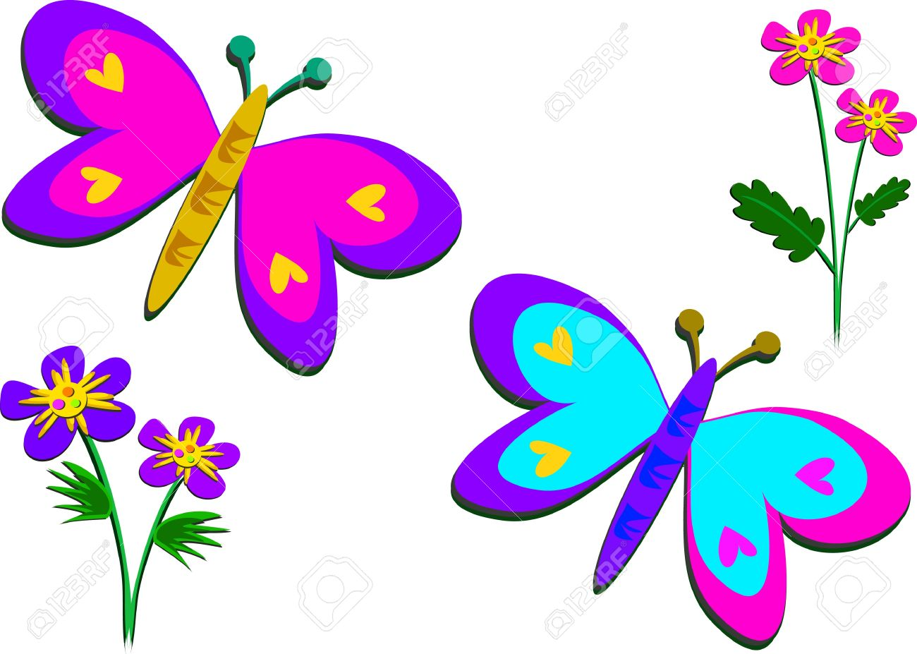 1300x927 Photo Collection Flowers And Butterflies Clipart