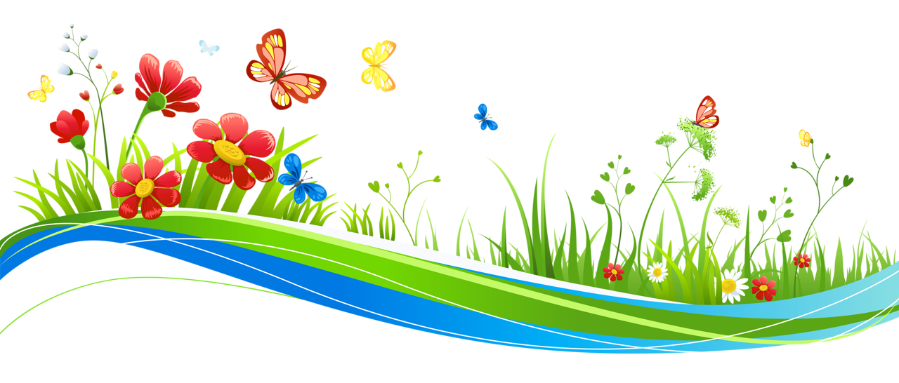 1280x546 Transparent Decoration With Flowers And Butterflies Png Picture