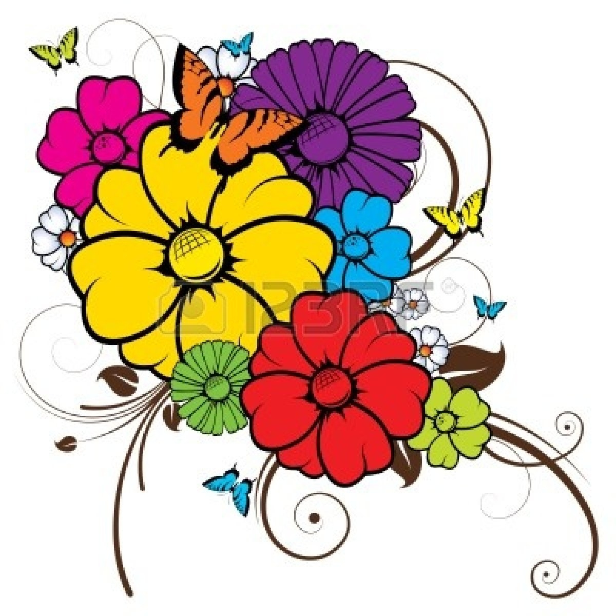 1200x1200 Beautiful Clipart Flower Butterfly