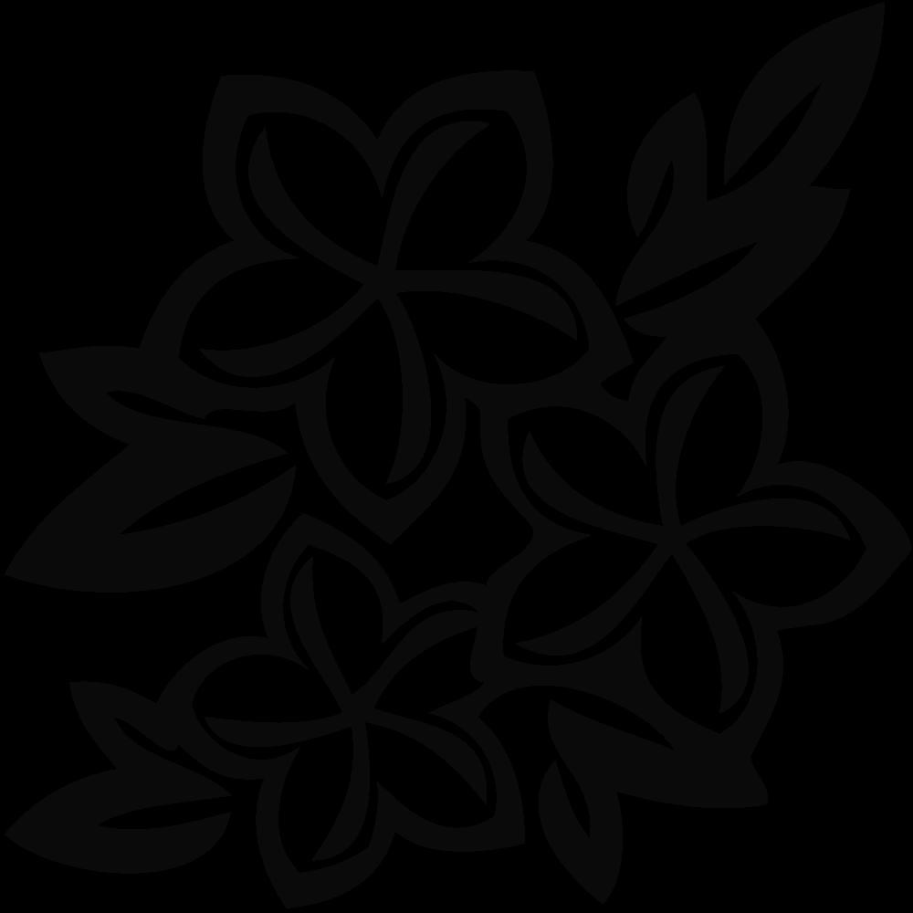 1000x1000 Black White Flower Clipart